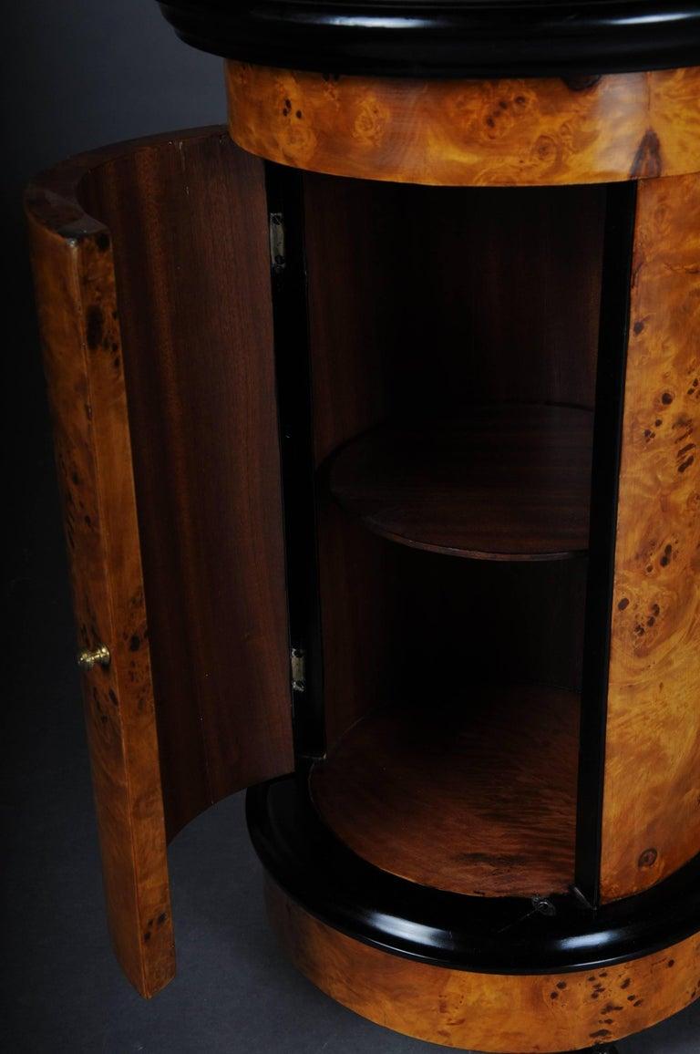 Tonneau, Bar Cabinet, Side Table in Biedermeier, Maple Root For Sale 2