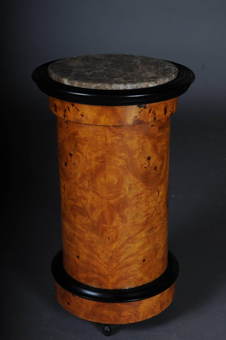 Ebonized Tonneau, Bar Cabinet, Side Table in Biedermeier, Maple Root For Sale