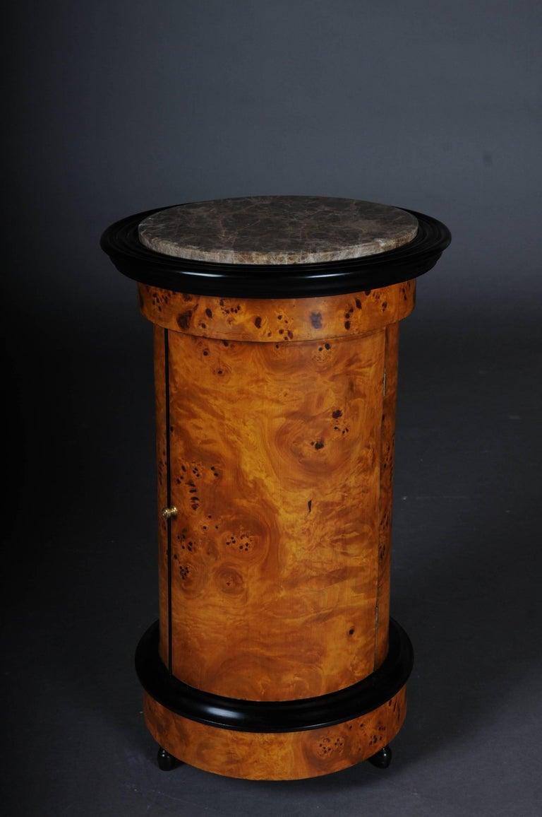 Tonneau, Bar Cabinet, Side Table in Biedermeier Maple Root For Sale 1