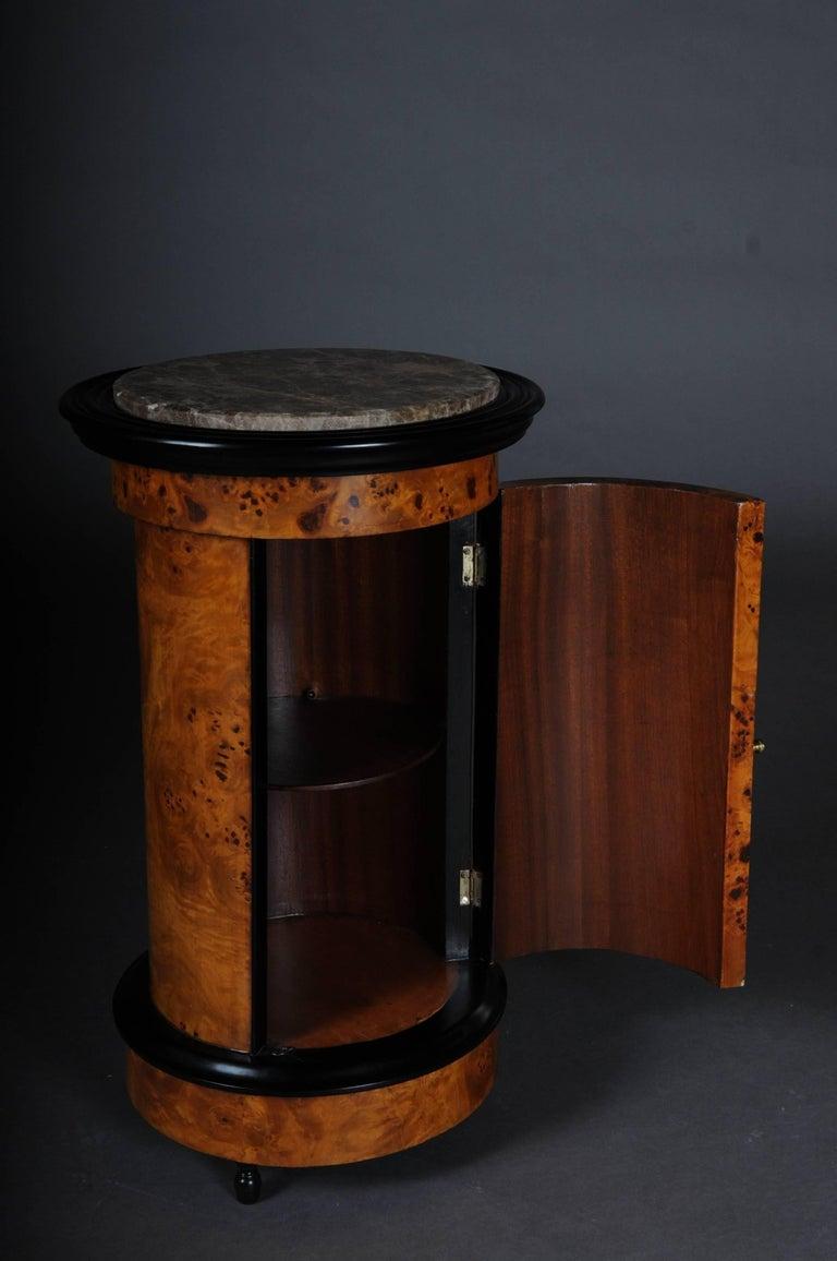 Tonneau, Bar Cabinet, Side Table in Biedermeier Maple Root For Sale 2