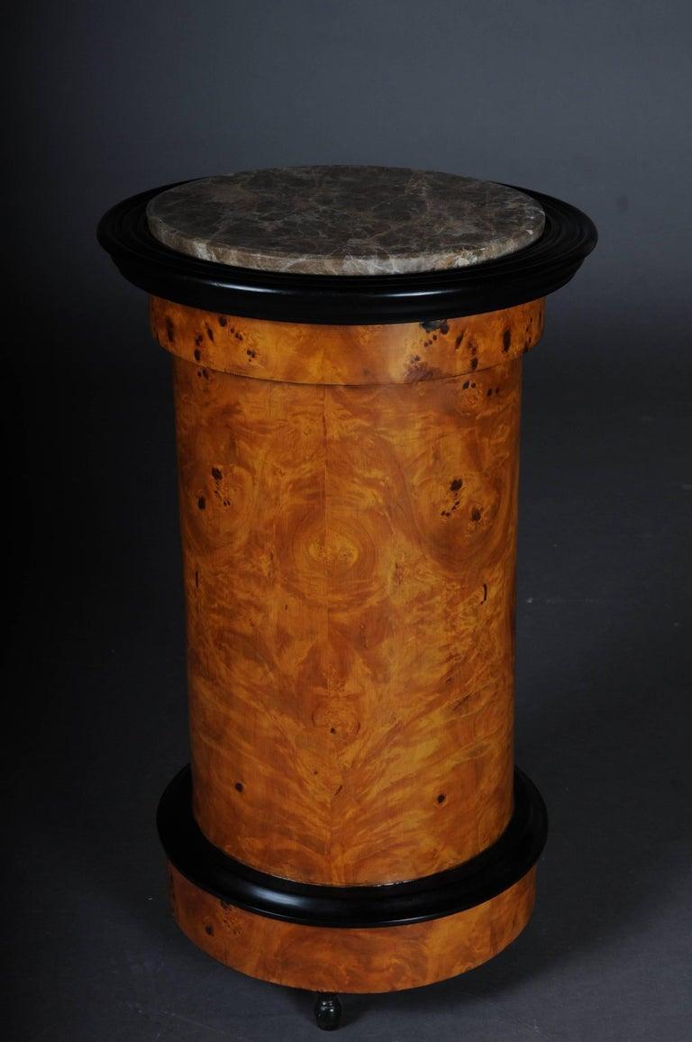 Tonneau, Bar Cabinet, Side Table in Biedermeier Maple Root For Sale 4