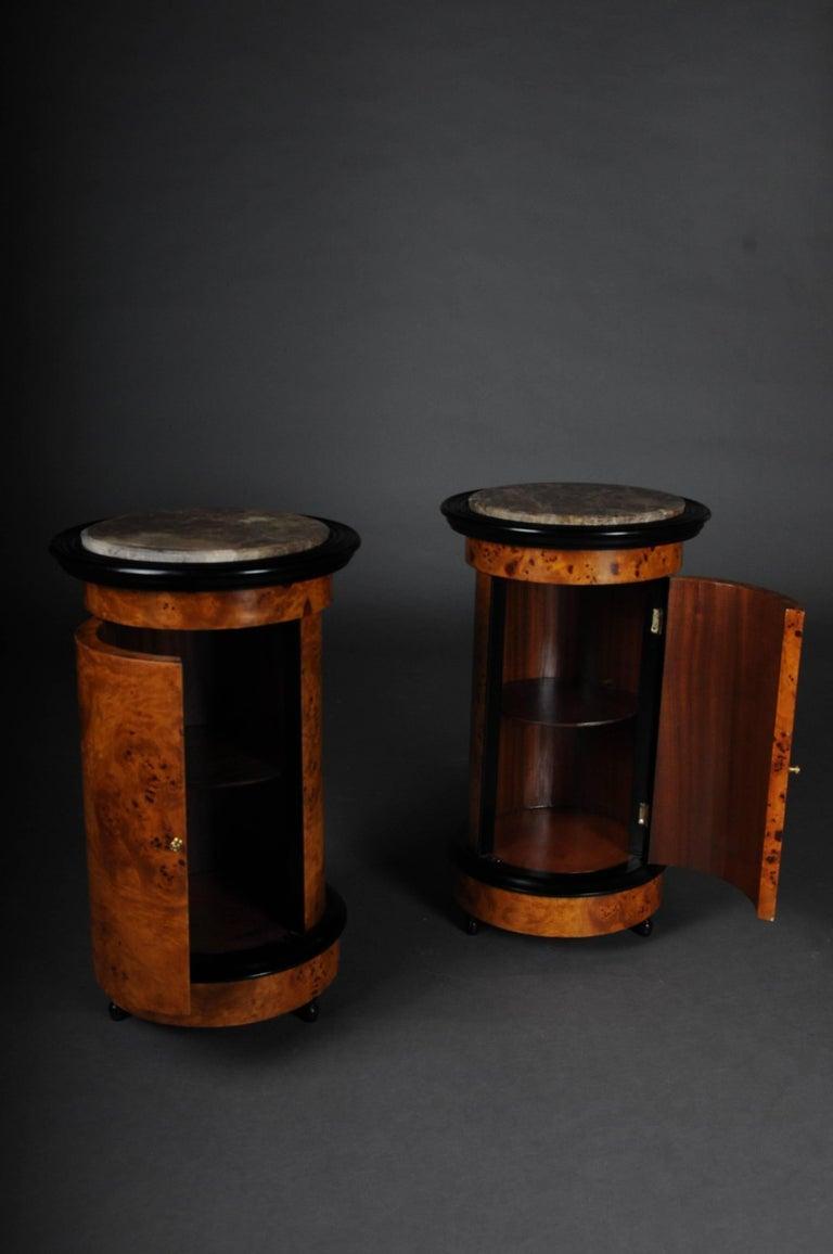 German Tonneau, Bar Cabinet, Side Table in Biedermeier Maple Root For Sale