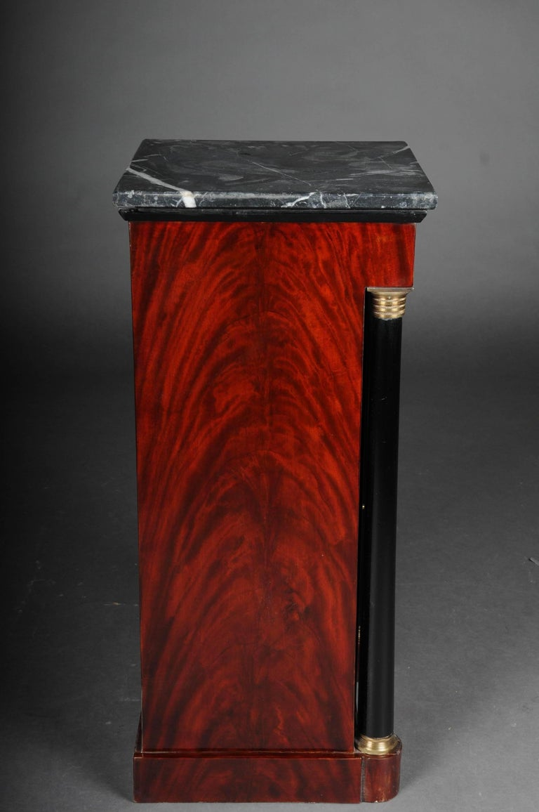 Marble Classic Bedside Table, Side Table in Biedermeier, Mahogany R For Sale
