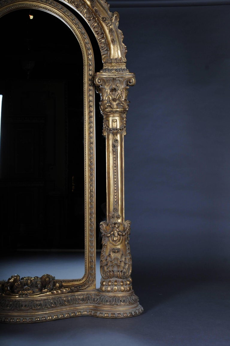 Hand-Carved 20th Century Gigantic Full-Length Mirror in Louis XVI, Solid beechwood For Sale