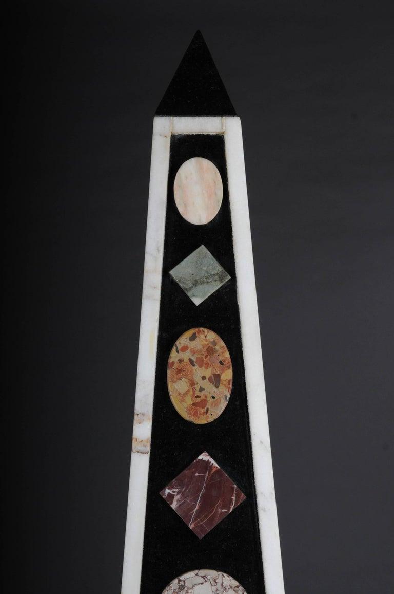 European Pair of Monumental Marble Obelisks, White For Sale