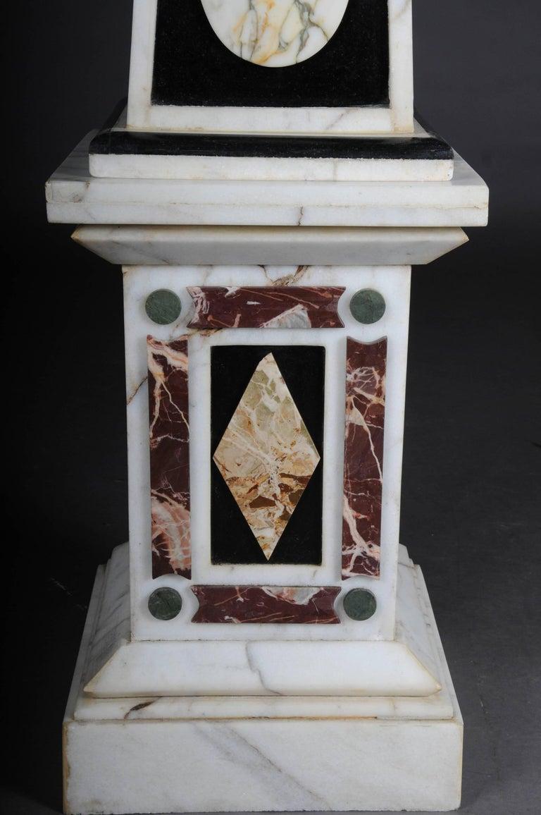Precious Stone Pair of Monumental Marble Obelisks, White For Sale