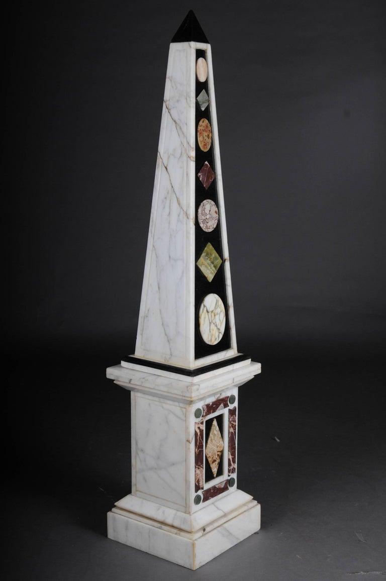 Grand Tour Pair of Monumental Marble Obelisks, White For Sale