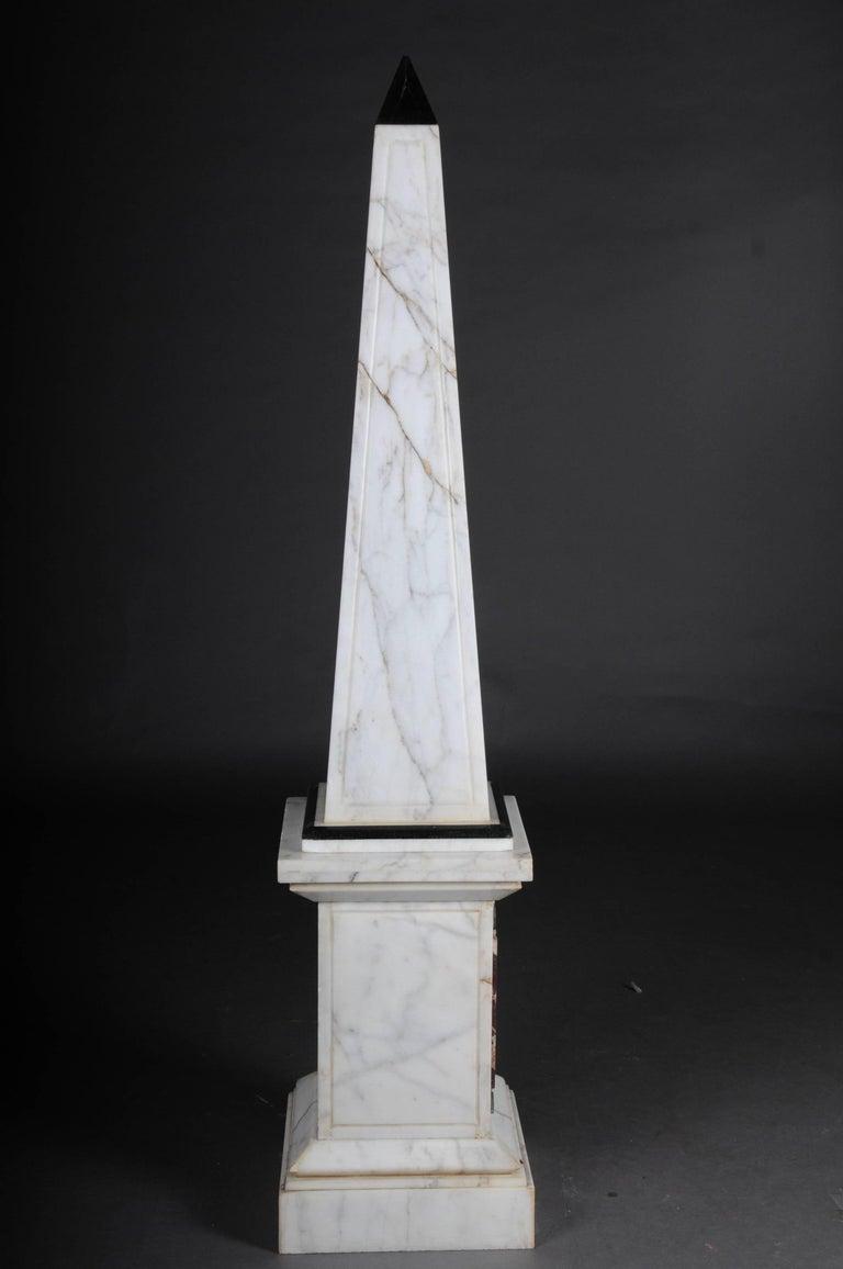 Pair of Monumental Marble Obelisks, White For Sale 2