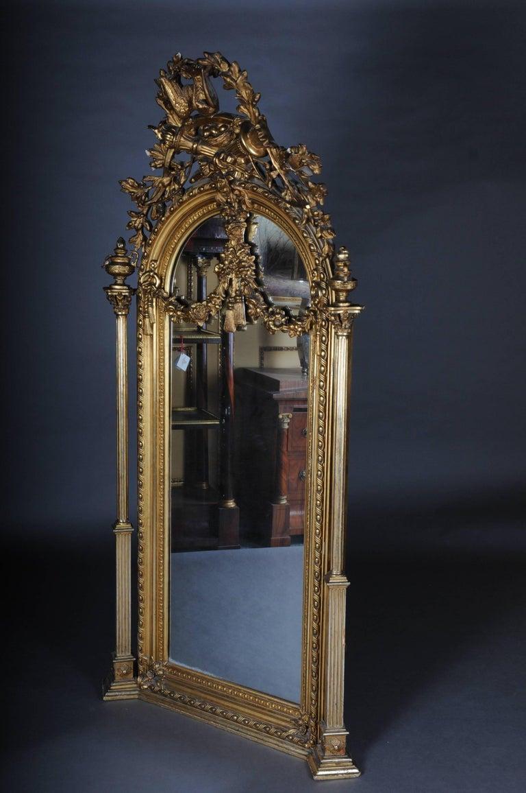 Hand-Carved 19th Century Classicistic Splendor Mirror Gilt Napoleon III For Sale