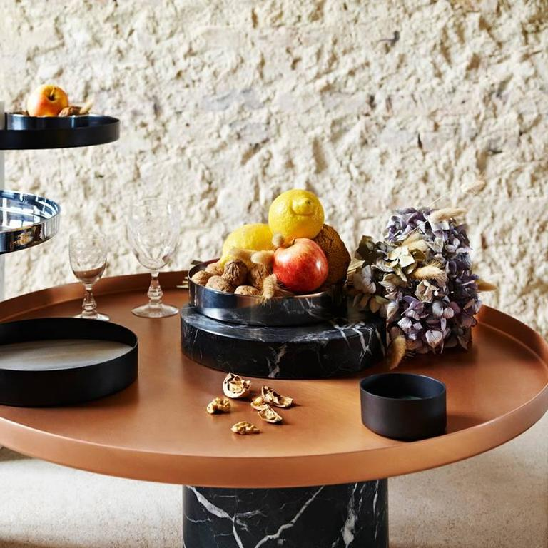 Coffee Table Copper Tray: Low Salute Coffee Table Green Marble, Copper Tray For Sale