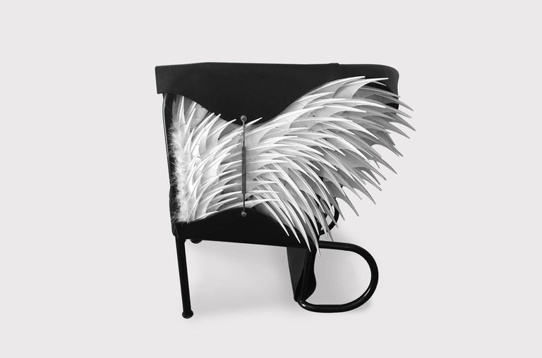 Modern Club Chair, Accoutre No.2, Leather and Feather Armchair For Sale
