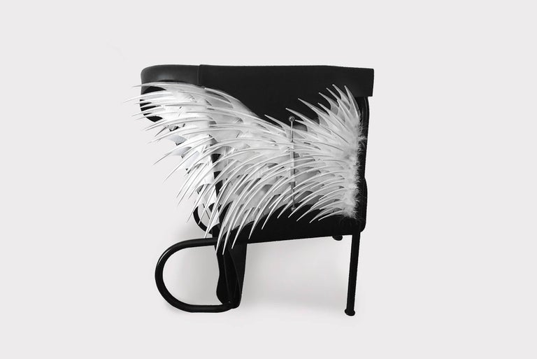 In the first edition of the 'Club Chair' (2016) the designer Glen Baghurst drew inspiration from high fashion and English saddlery and applied this to create his leather draped armchair. 