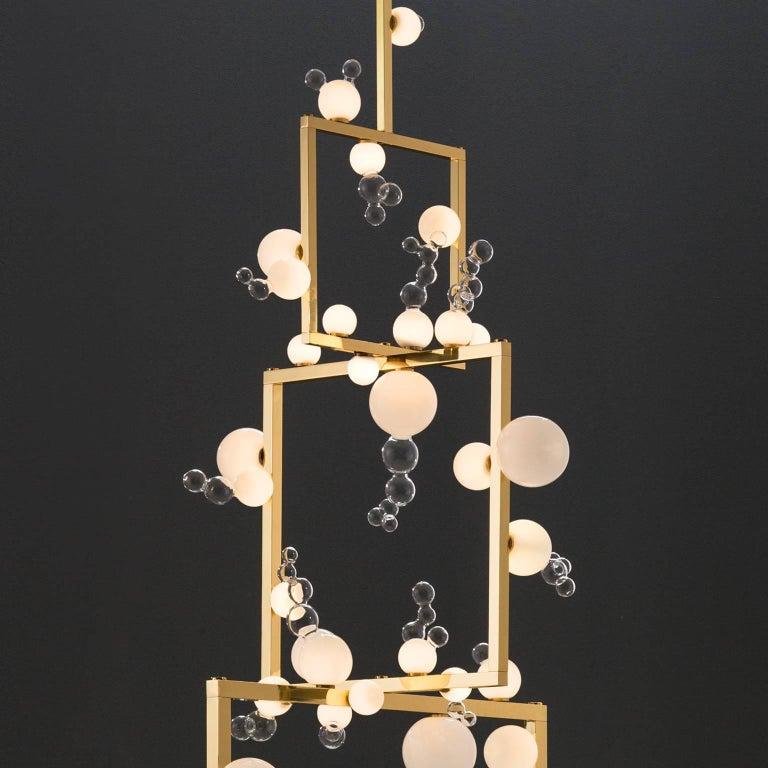 Organic Modern Bollicine Chandelier 'Three modules' Brass and Handblown Glass Pendant Light For Sale