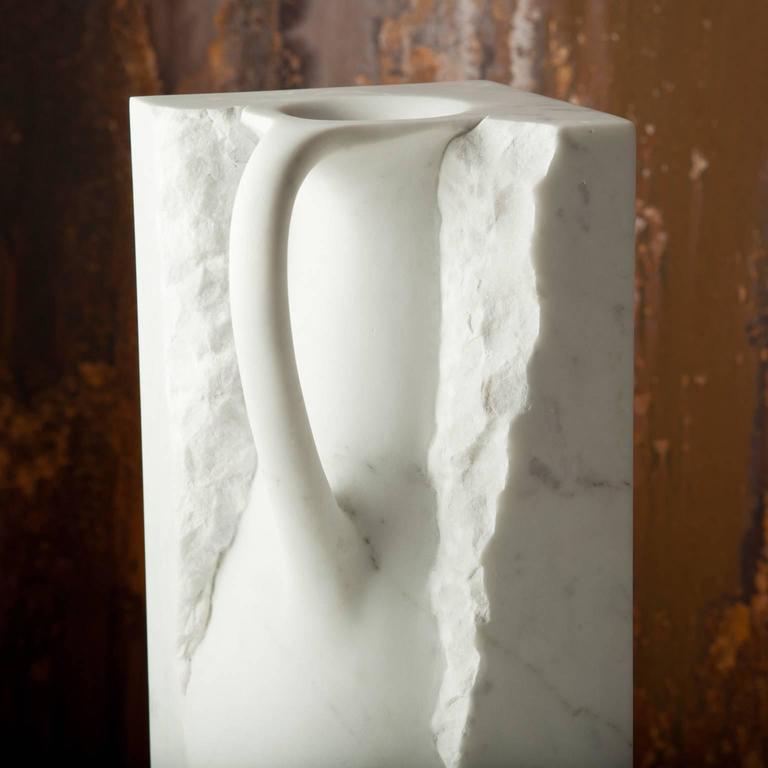 Italian Svelata Large Vase, Contemporary Hand-carved Carrara Marble Vessel For Sale
