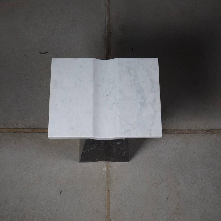 Hand-Carved Coulee, Contemporary Marble Side Table For Sale