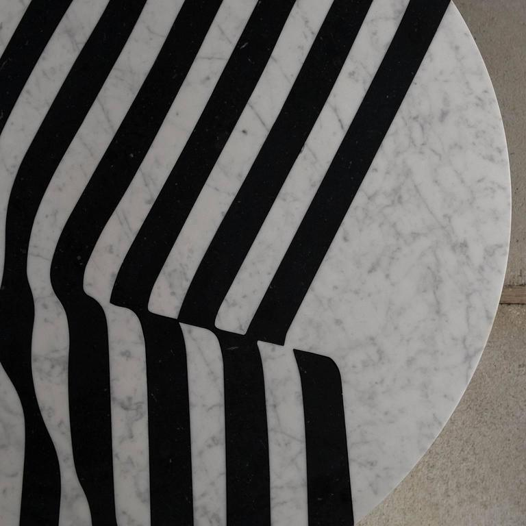Veiled Round Coffee Table, Contemporary Inlaid Black and White Marble 5
