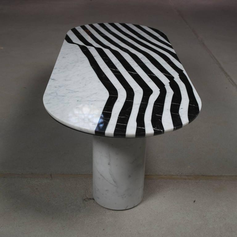 Italian Veiled Side Table Oval, Contemporary Inlaid Black and White Marble For Sale