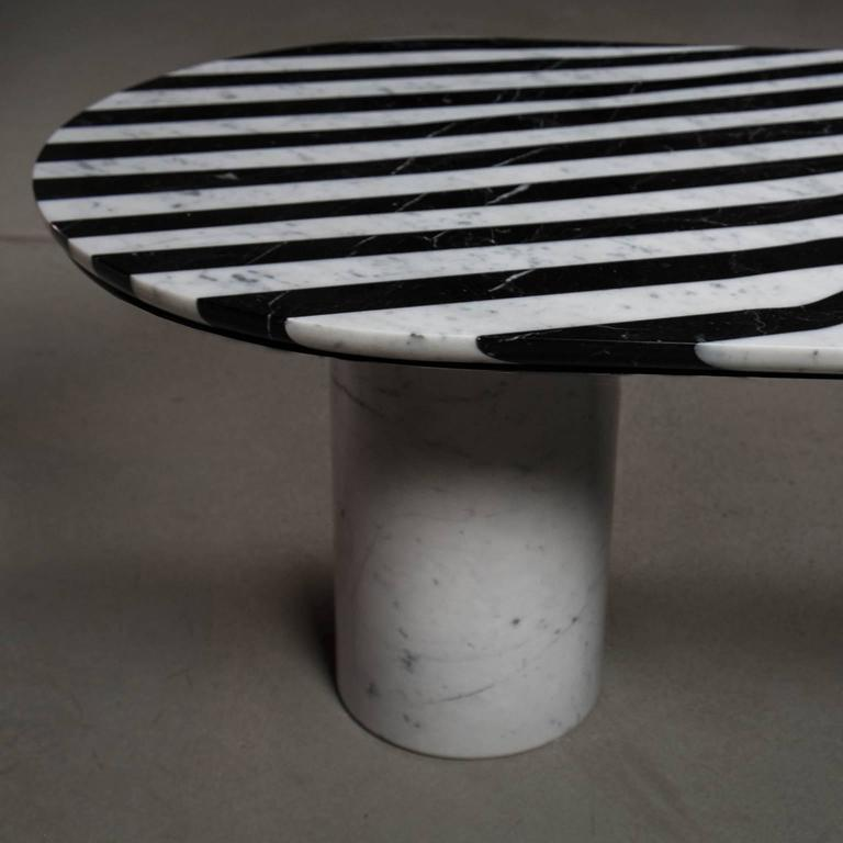 Inlay Veiled Side Table Oval, Contemporary Inlaid Black and White Marble For Sale