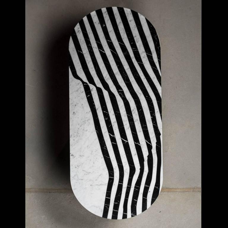 Veiled Side Table Oval, Contemporary Inlaid Black and White Marble In Excellent Condition For Sale In London, GB