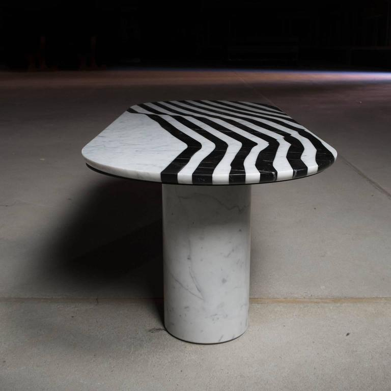 Veiled Side Table Oval, Contemporary Inlaid Black and White Marble 7