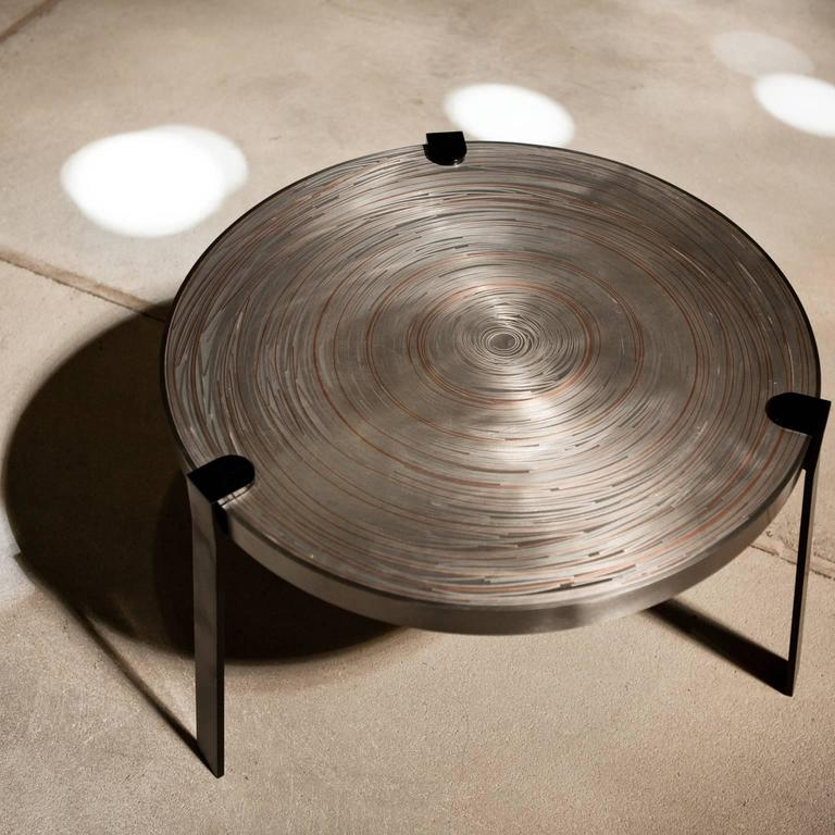Remetaled nesting tables contemporary set of two metal