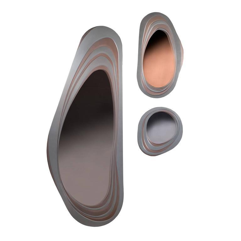 Italian Mirrored Mirrors, Contemporary Metal Mirror, Medium For Sale