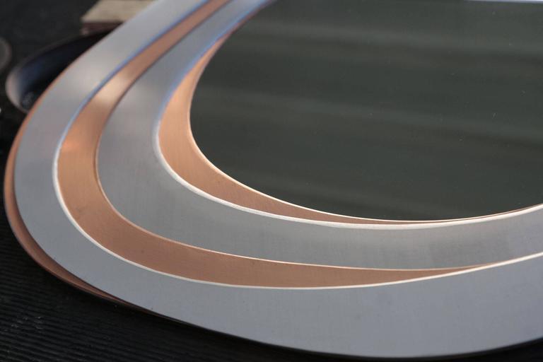Italian Mirrored Mirrors, Contemporary Metal Mirror, Small For Sale