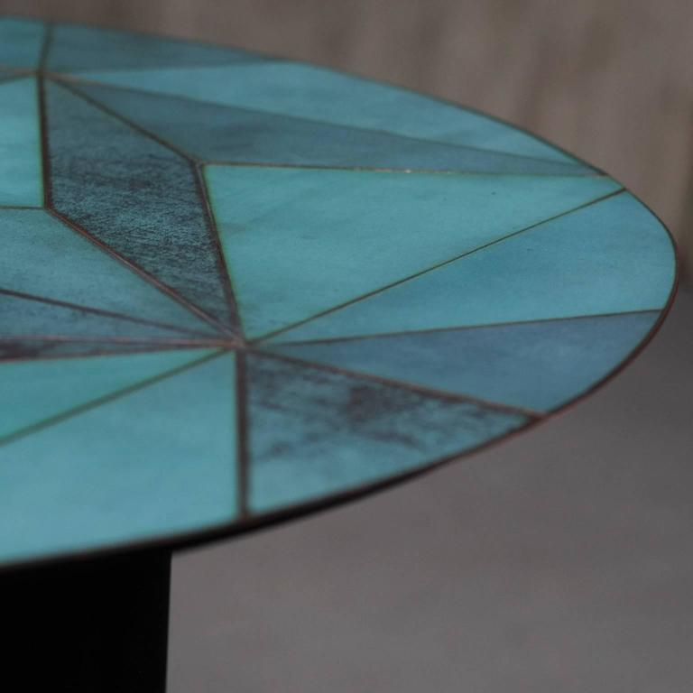 Italian Marque' Coffee Table, Contemporary Inlaid Metal Coffee Table For Sale
