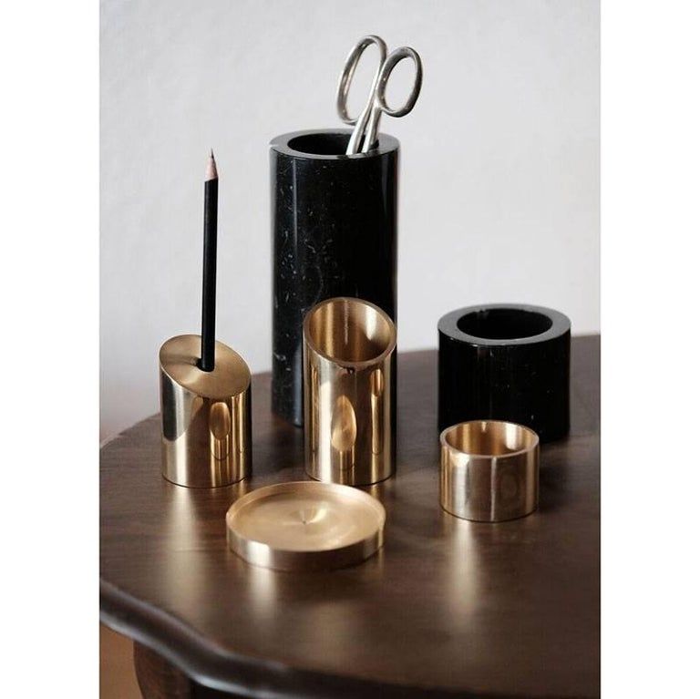 Contemporary Deskcape, Marble and Brass Desk Organiser For Sale