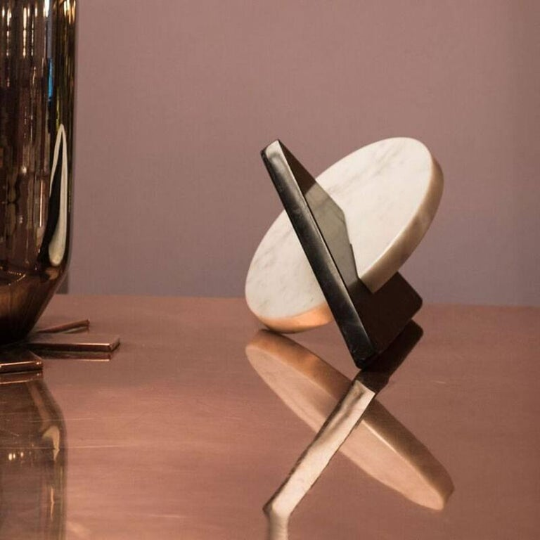 Noda, Black and White Marble, Minimal, Sculptural Trivets For Sale 4