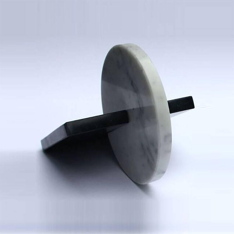 Modern Noda, Black and White Marble, Minimal, Sculptural Trivets For Sale