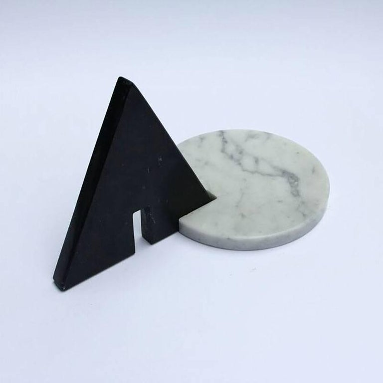 Contemporary Noda, Black and White Marble, Minimal, Sculptural Trivets For Sale