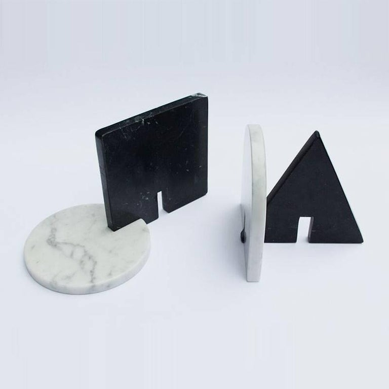 English Noda, Black and White Marble, Minimal, Sculptural Trivets For Sale