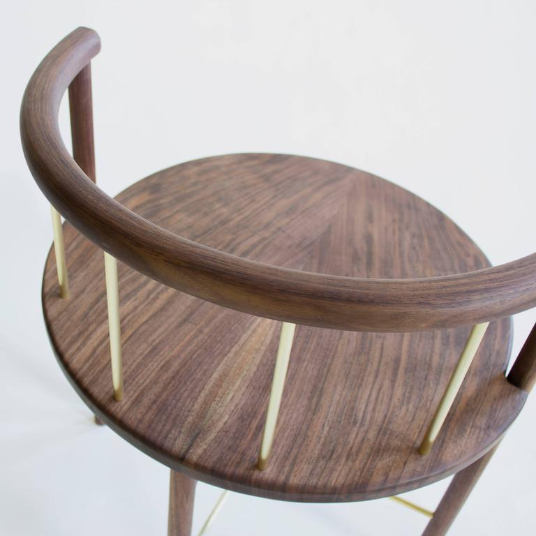 Lloyd Modern Walnut And Brass Dinning Chair For Sale At