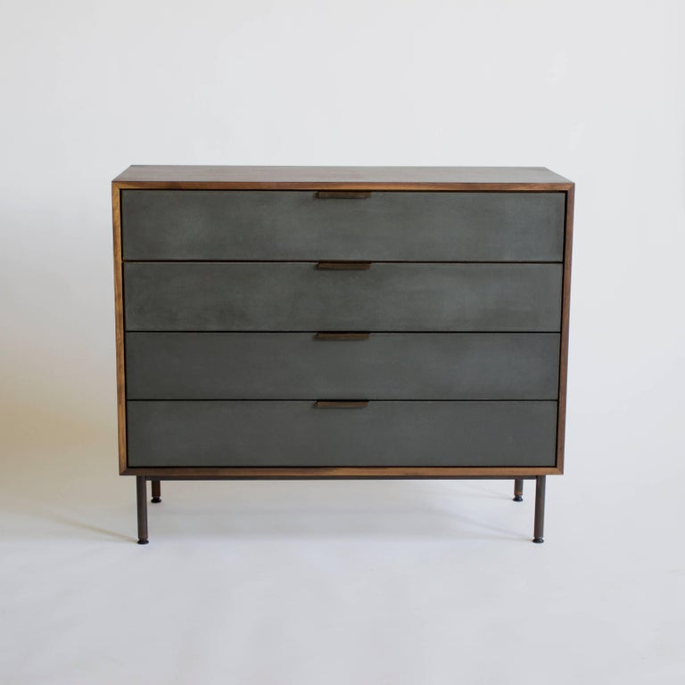 American Ira Modern Concrete and Walnut Dresser For Sale