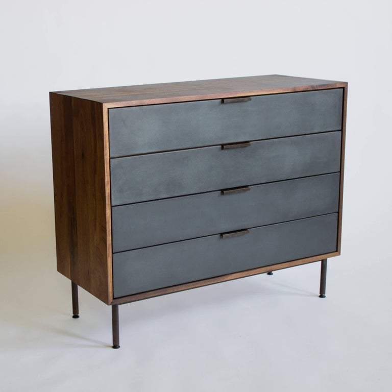 Cast Ira Modern Concrete and Walnut Dresser For Sale