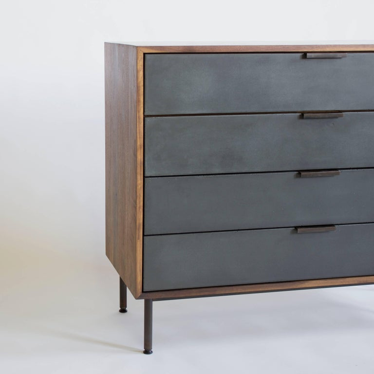 Contemporary Ira Modern Concrete and Walnut Dresser For Sale