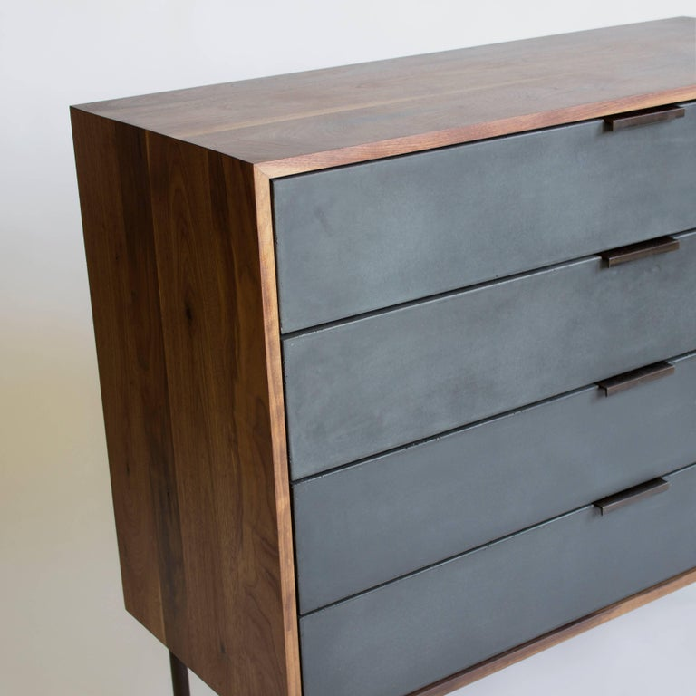 Steel Ira Modern Concrete and Walnut Dresser For Sale