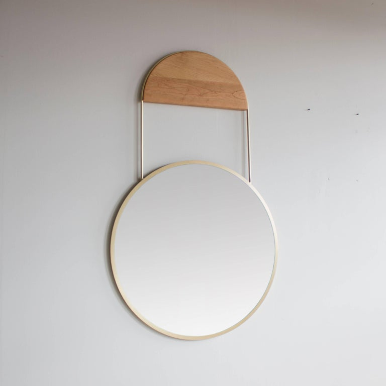Modern Penny Round Brass Wall Hanging Mirror For Sale