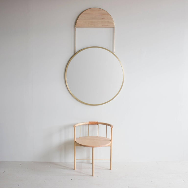 Brushed Penny Round Brass Wall Hanging Mirror For Sale