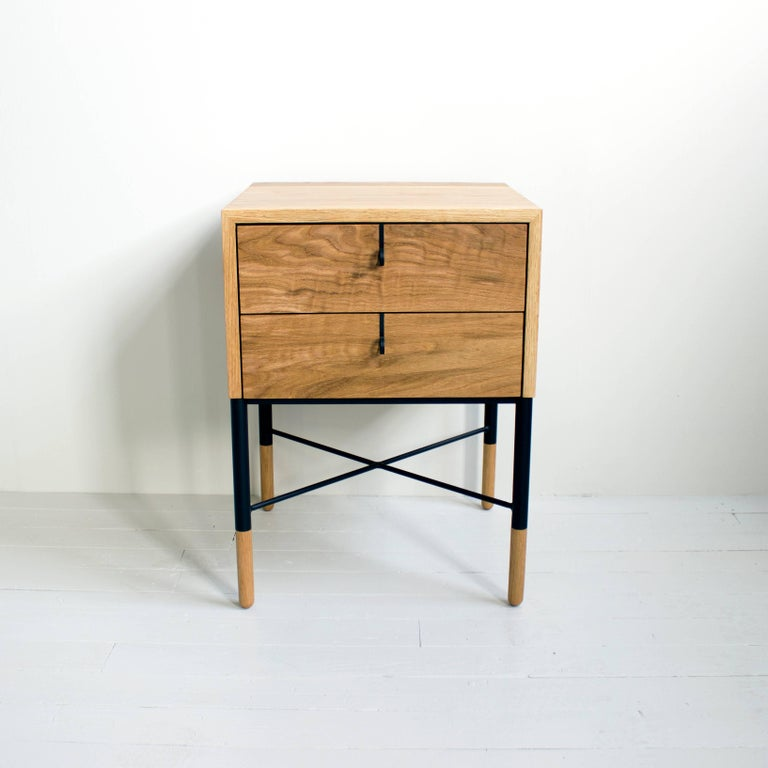 Modern Phillips Two-Drawer Nightstand and Side Table For Sale