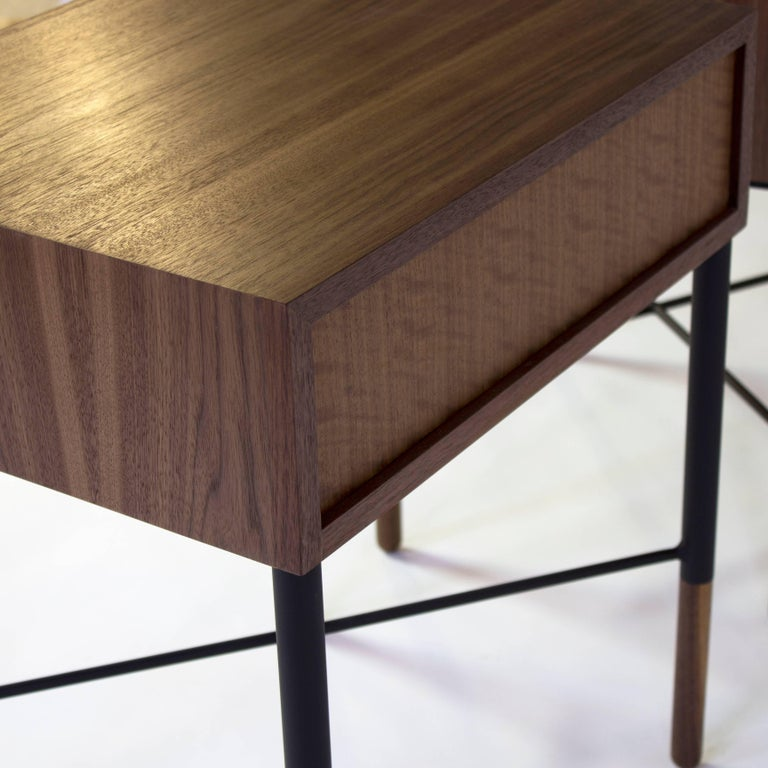 Contemporary Phillip Walnut Nightstand and Side Table For Sale