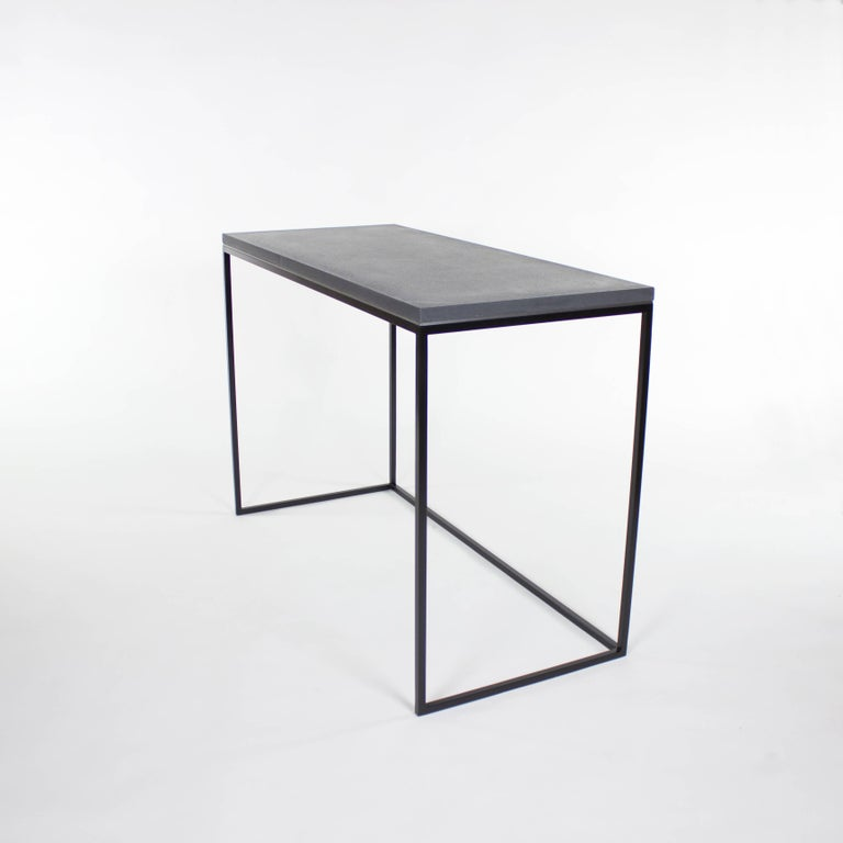 Contemporary Wilson Modern Minimalist Concrete Writing Desk or Console For Sale