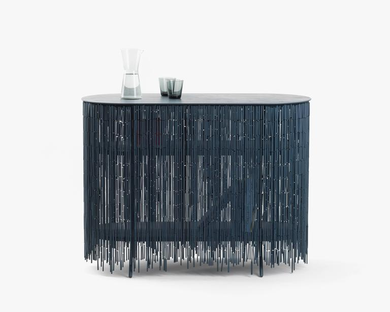 Modern Keefer Credenza, Calen Knauf, Petrol Blue Bamboo Beaded Console Table Oak - 40