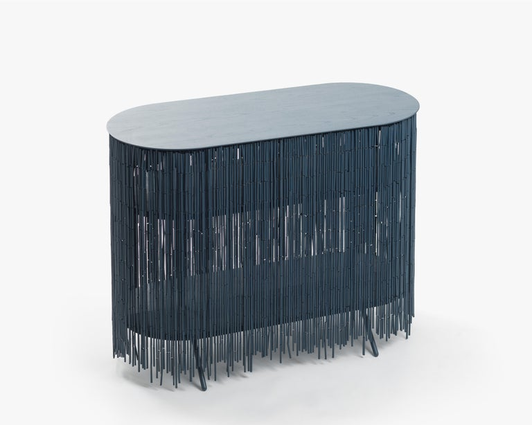 Painted Keefer Credenza Black Long For Sale