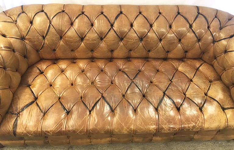 Lovingly worn, buttery 1940s Chesterfield with nailhead trim. Original Condition. Designed after the button tufted, low seated, rolled arm Classic, introduced to fashion by the Earl of Chesterfield. One button top missing. No repairs, no tears. See