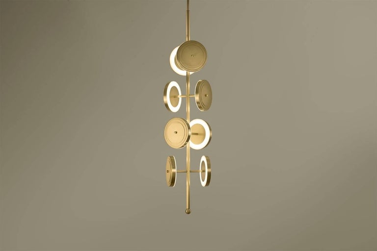 Contemporary Le Royer Chandelier in Aged Brass by Larose Guyon For Sale