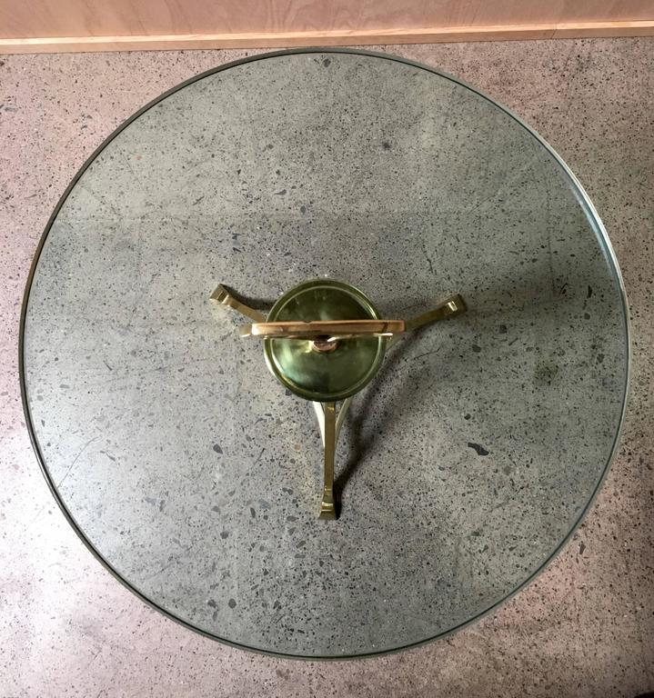 American Mid-Century Brass and Glass End Table For Sale