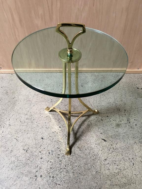 Mid-Century Brass and Glass End Table For Sale 1