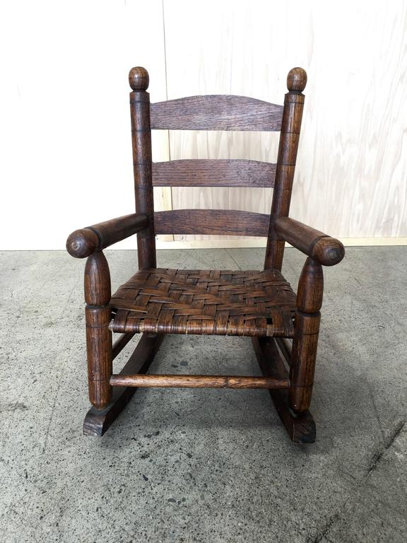 Basket Weave Country Childs Rocking Chair For Sale At 1stdibs